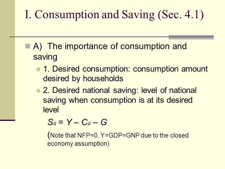 I. Consumption and Saving (Sec. 4.1) A)The importance of consumption and saving 1. Desired consumption: consumption amount desired by households 2. De