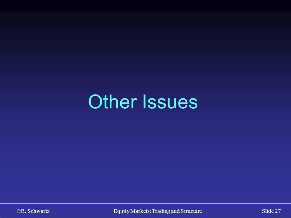 ©R. Schwartz Equity Markets: Trading and StructureSlide 27 Other Issues