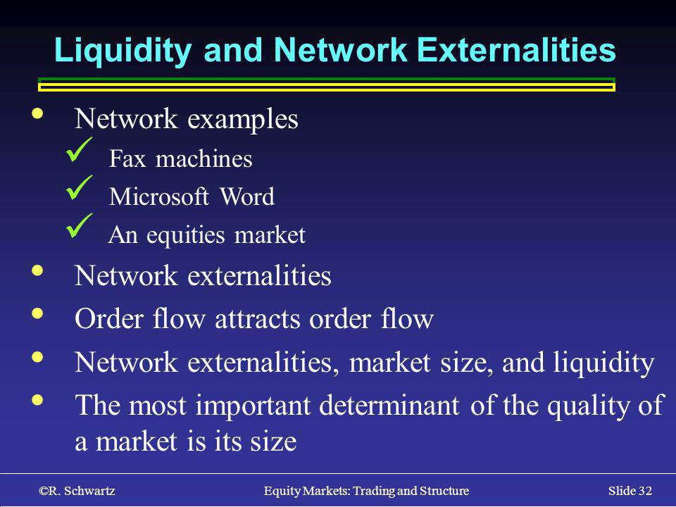©R. Schwartz Equity Markets: Trading and StructureSlide 32 Liquidity and Network Externalities Network examples Fax machines Microsoft Word An equitie