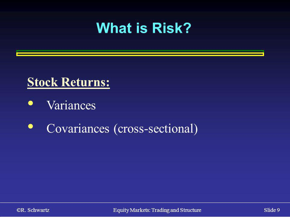 ©R. Schwartz Equity Markets: Trading and StructureSlide 9 What is Risk.