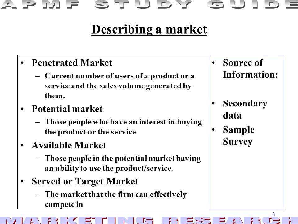 3 Describing a market Penetrated Market –Current number of users of a product or a service and the sales volume generated by them.