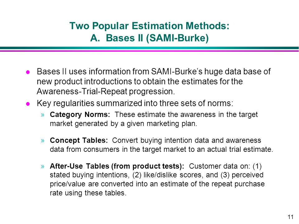 11 Two Popular Estimation Methods: A. Bases II (SAMI-Burke) l Bases II uses information from SAMI-Burkes huge data base of new product introductions t