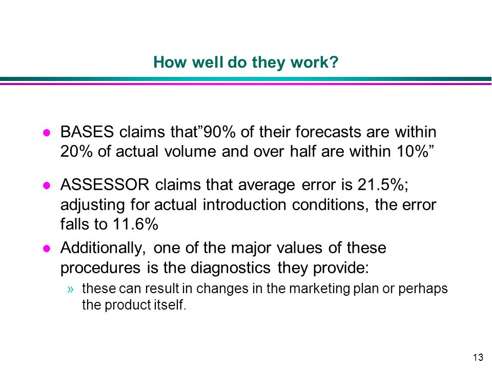 13 How well do they work? l BASES claims that90% of their forecasts are within 20% of actual volume and over half are within 10% l ASSESSOR claims tha