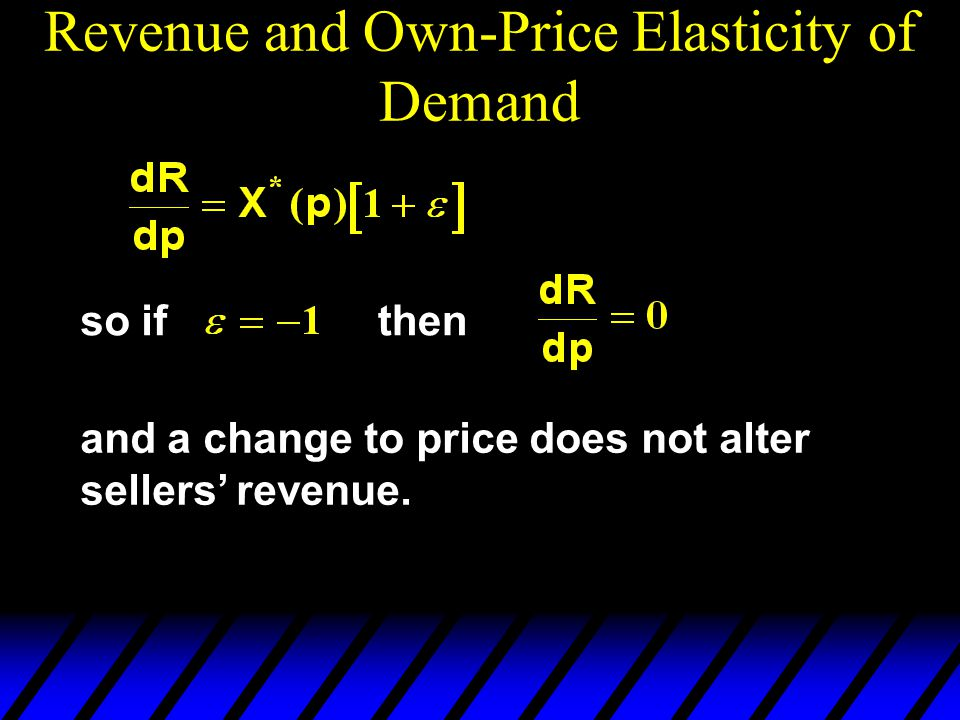 so ifthen and a change to price does not alter sellers revenue.