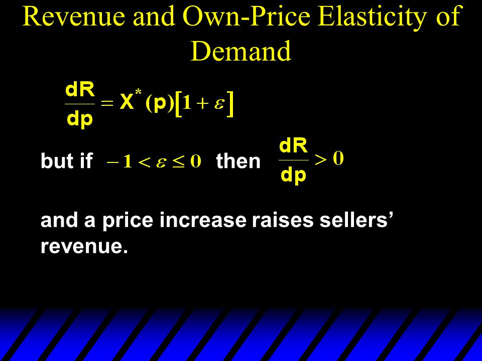 Revenue and Own-Price Elasticity of Demand but ifthen and a price increase raises sellers revenue.