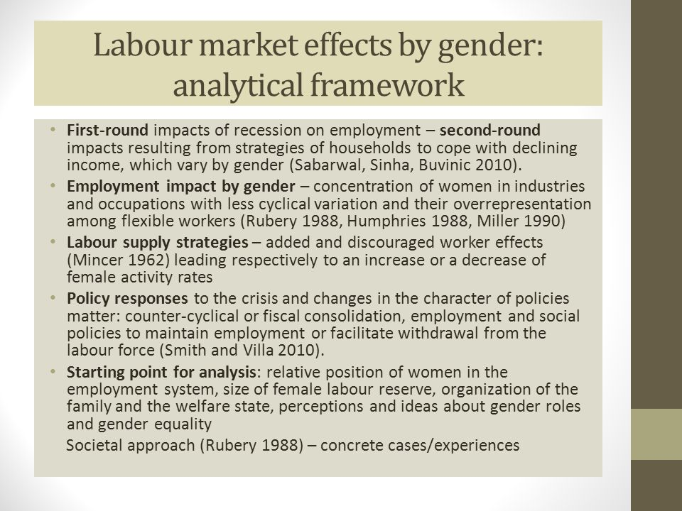 Labour market effects by gender: analytical framework First-round impacts of recession on employment – second-round impacts resulting from strategies