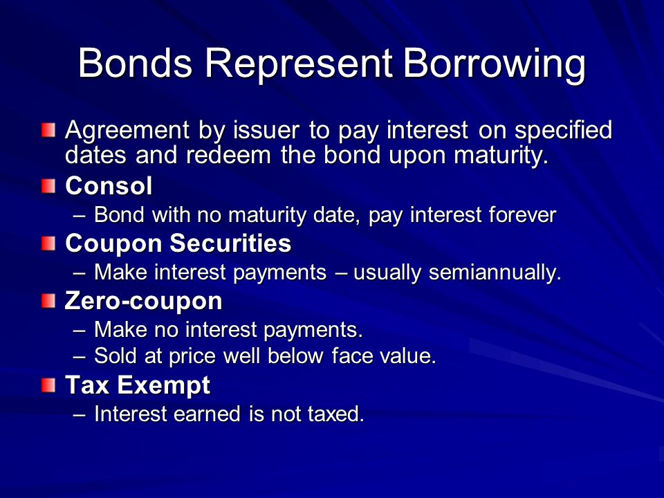 Stock Represents Ownership Stockholders –Owns part of the corporation and receives dividends from the issuer.