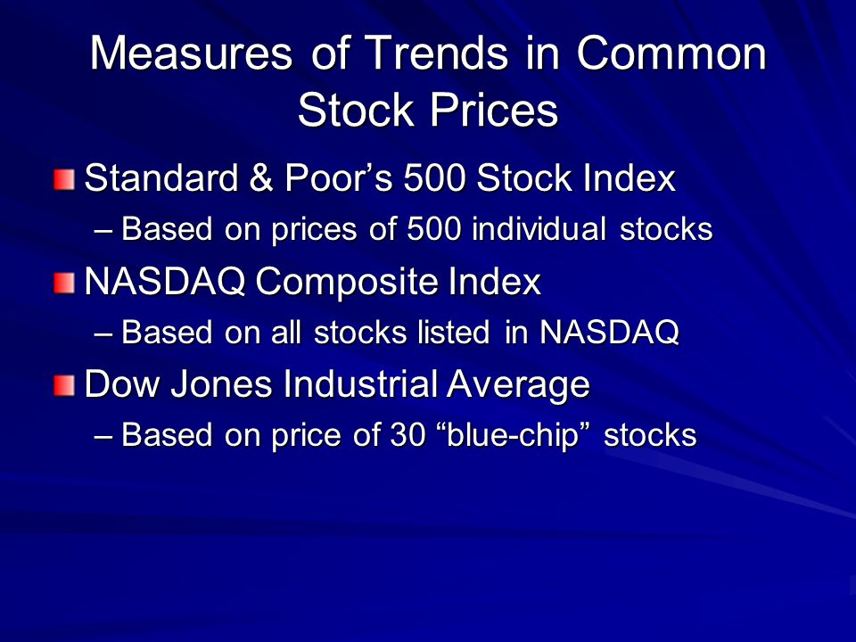 Measures of Trends in Common Stock Prices Standard & Poors 500 Stock Index –Based on prices of 500 individual stocks NASDAQ Composite Index –Based on