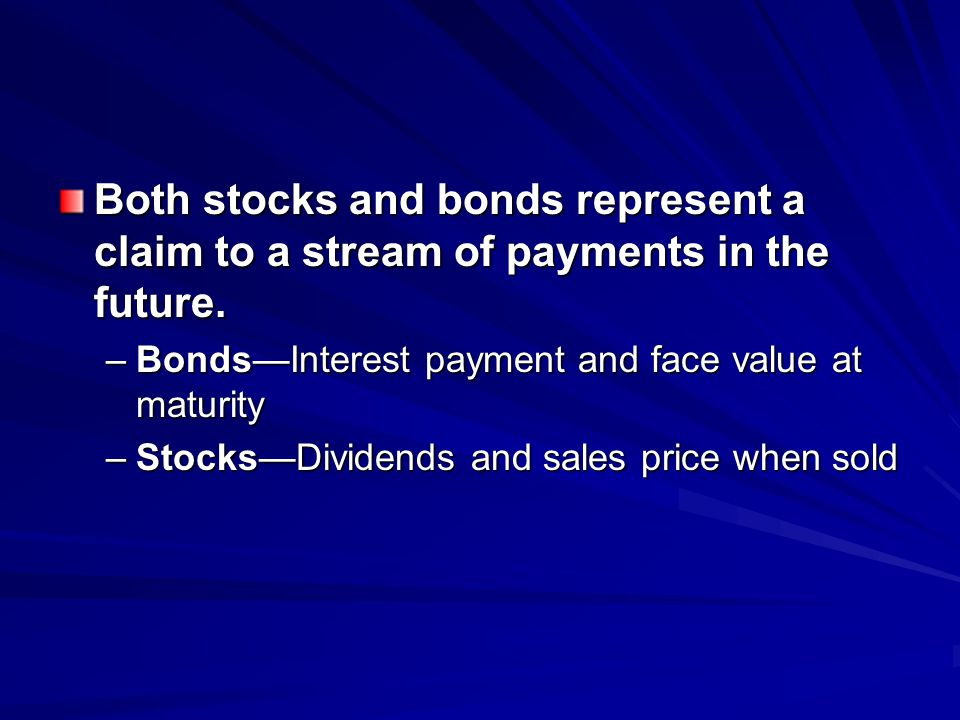 Both stocks and bonds represent a claim to a stream of payments in the future. –BondsInterest payment and face value at maturity –StocksDividends and