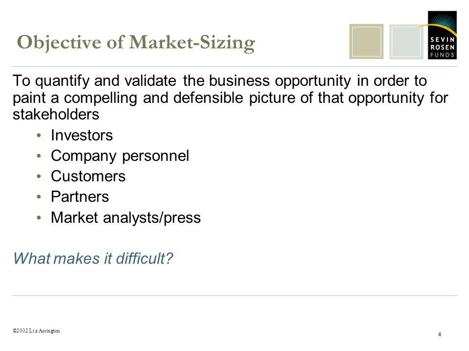 ©2002 Li z Arrington 4 Objective of Market-Sizing To quantify and validate the business opportunity in order to paint a compelling and defensible pict