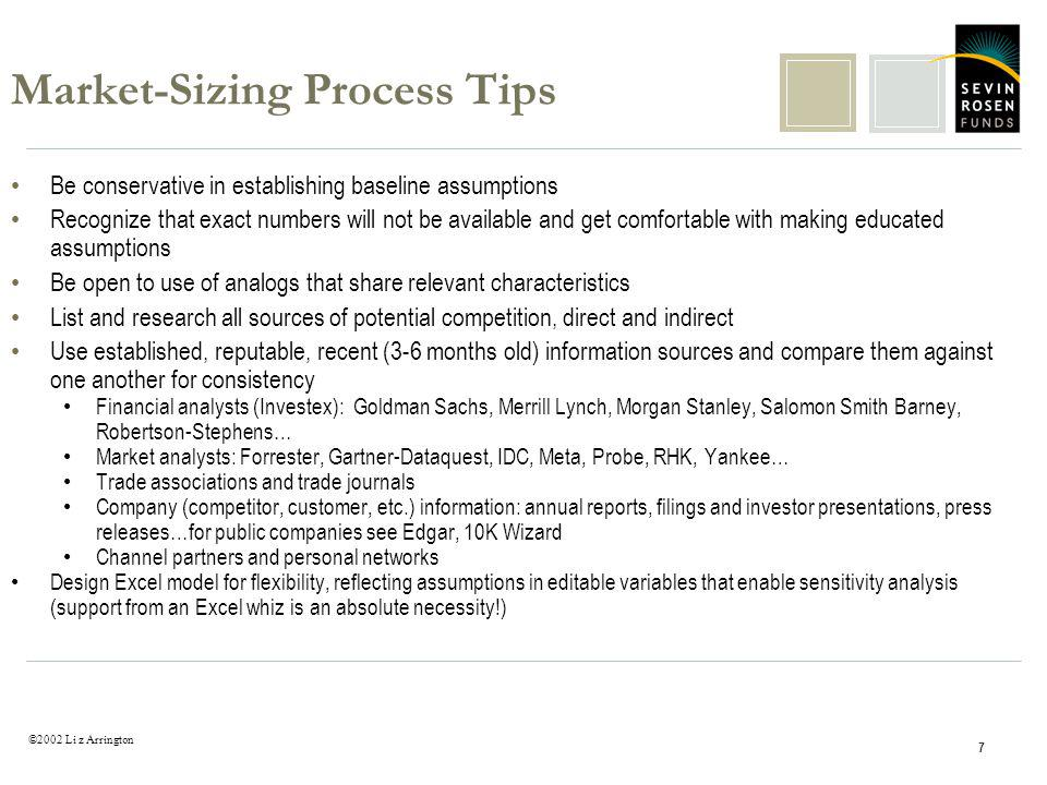 ©2002 Li z Arrington 7 Market-Sizing Process Tips Be conservative in establishing baseline assumptions Recognize that exact numbers will not be availa