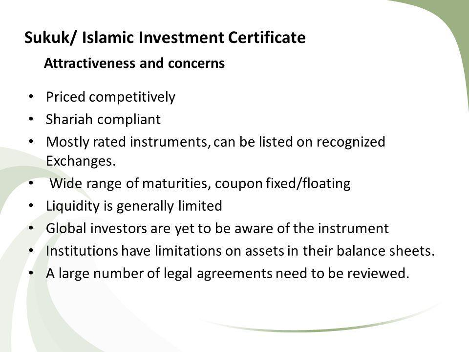 Structure for IDBs Sukuk Issuance Sukuk AssetsConsideration Trust in favour of Trustee acting on behalf of investors IDB acts as Wakeel to SPV SPV CertificatesProceeds Purchase Undertaking Deed to purchase all outstanding Sukuk Assets at the maturity date Liquidity facility to cover periodic distribution payments Investors Sukuk Assets » Ijara » Sukuk » Equity » Installment Sale » Istisna a (>51%)