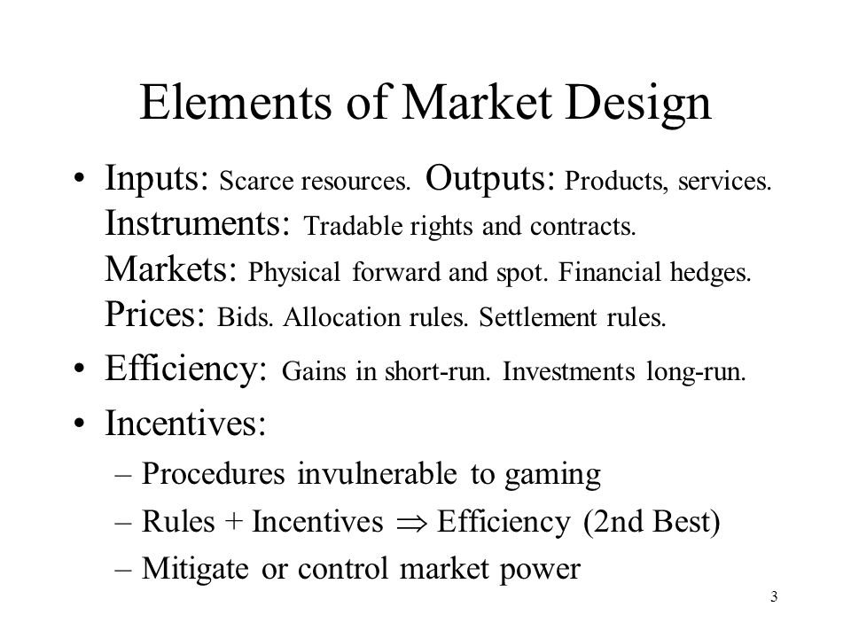14 Design Issues #2, #3 (Addressed in text of paper) Design details of each market –Energy: bilateral contracting, or an exchange.