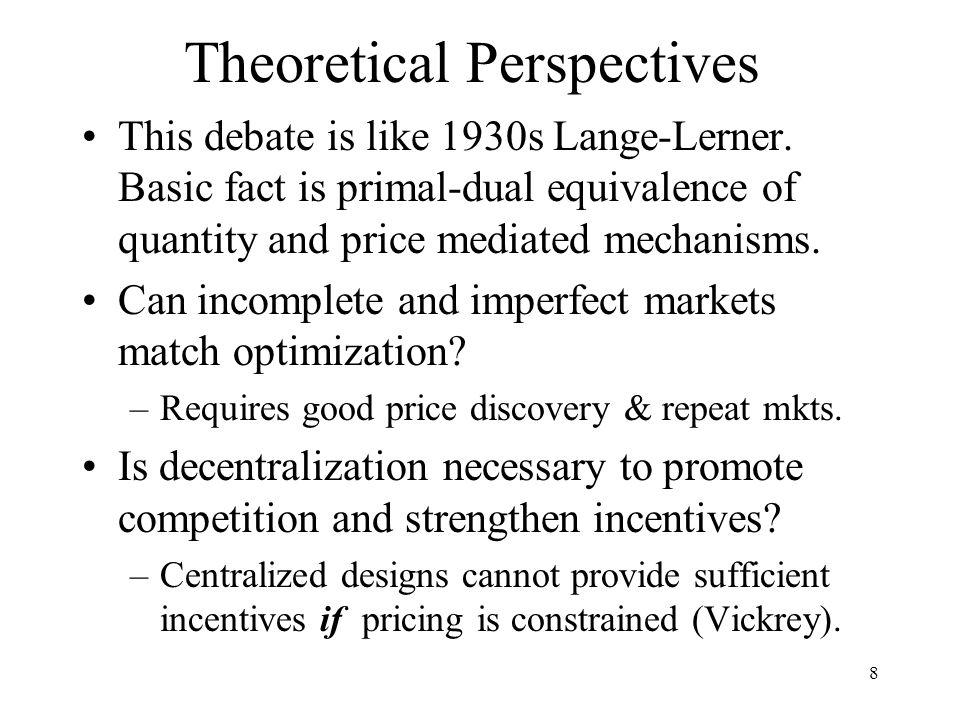 8 Theoretical Perspectives This debate is like 1930s Lange-Lerner.