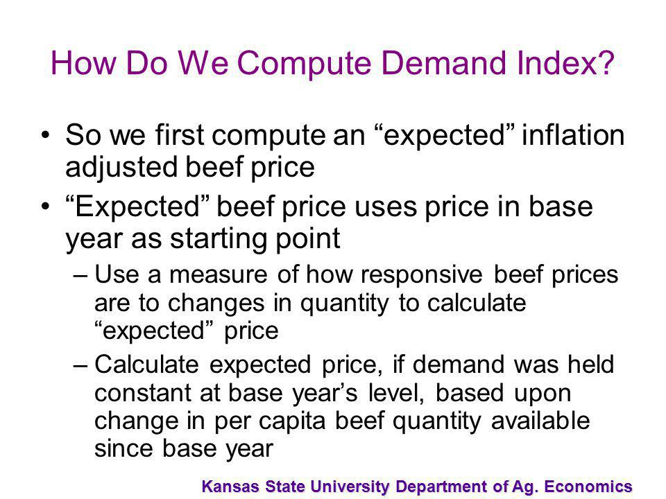 Kansas State University Department of Ag. Economics How Do We Compute Demand Index? So we first compute an expected inflation adjusted beef price Expe