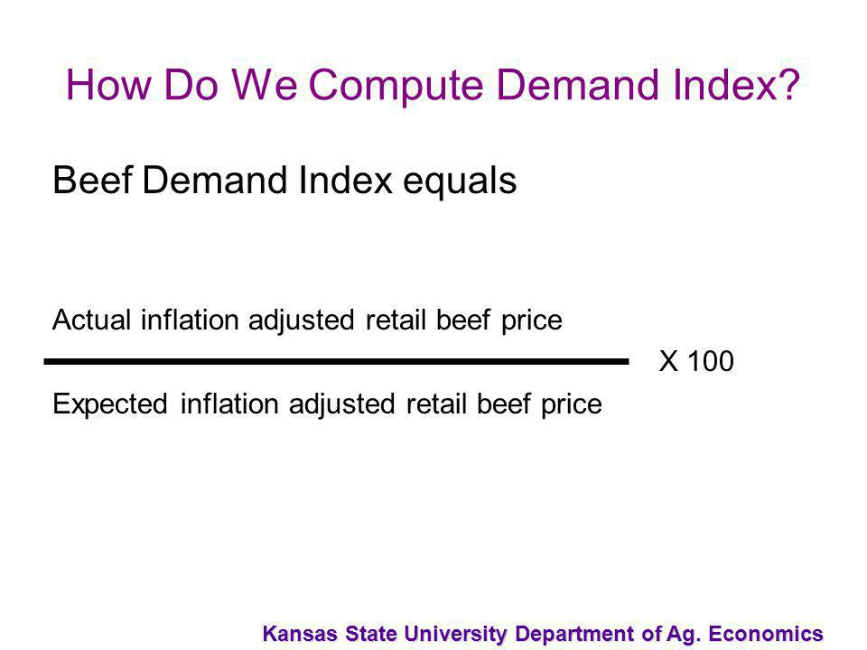 Kansas State University Department of Ag. Economics How Do We Compute Demand Index? Beef Demand Index equals Actual inflation adjusted retail beef pri