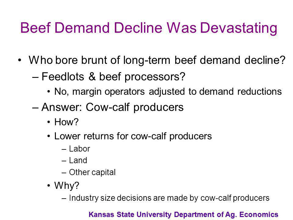 Kansas State University Department of Ag. Economics Beef Demand Decline Was Devastating Who bore brunt of long-term beef demand decline? –Feedlots & b