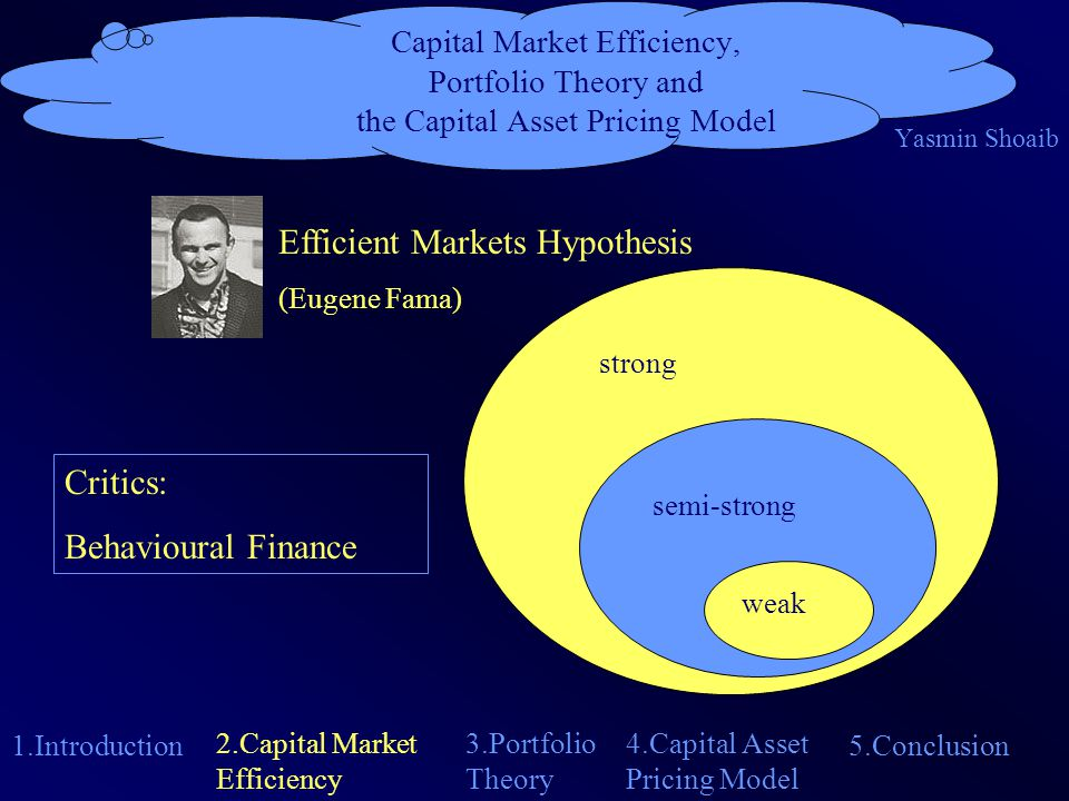 Capital Market Efficiency, Portfolio Theory and the Capital Asset Pricing Model Yasmin Shoaib 1.Introduction 4.Capital Asset Pricing Model 2.Capital Market Efficiency 5.Conclusion 3.Portfolio Theory Efficient Markets Hypothesis (Eugene Fama) strong semi-strong weak Critics: Behavioural Finance