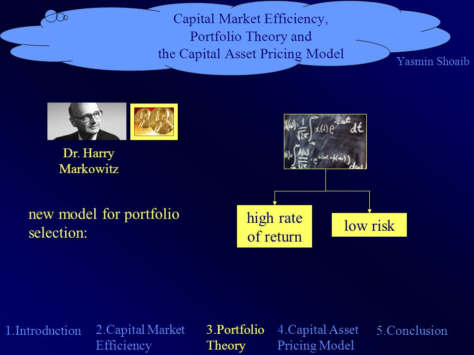Capital Market Efficiency, Portfolio Theory and the Capital Asset Pricing Model Yasmin Shoaib 1.Introduction 4.Capital Asset Pricing Model 2.Capital Market Efficiency 5.Conclusion 3.Portfolio Theory correlationdeviations of single assets