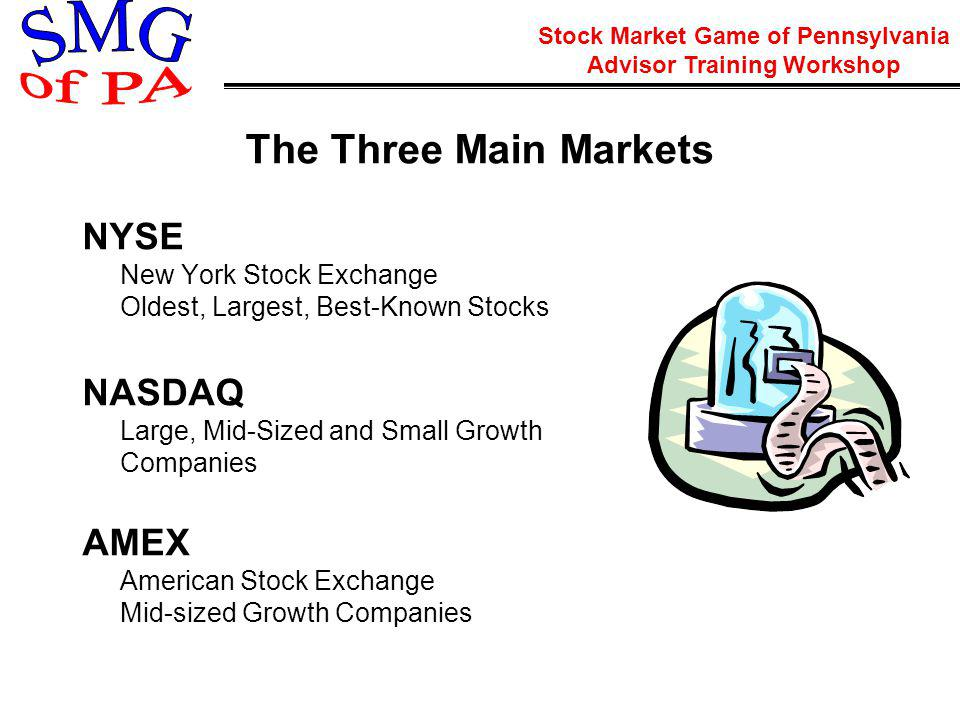 Stock Market Game of Pennsylvania Advisor Training Workshop The Three Main Markets NYSE New York Stock Exchange Oldest, Largest, Best-Known Stocks NASDAQ Large, Mid-Sized and Small Growth Companies AMEX American Stock Exchange Mid-sized Growth Companies