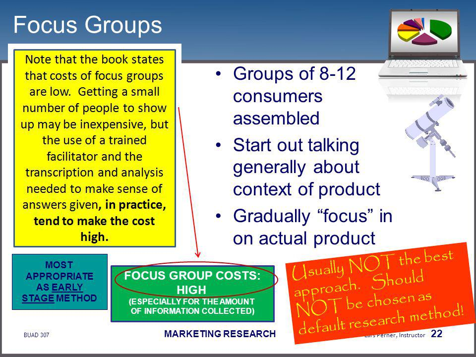 BUAD 307 MARKETING RESEARCH Lars Perner, Instructor 22 Focus Groups Groups of 8-12 consumers assembled Start out talking generally about context of product Gradually focus in on actual product Usually NOT the best approach.