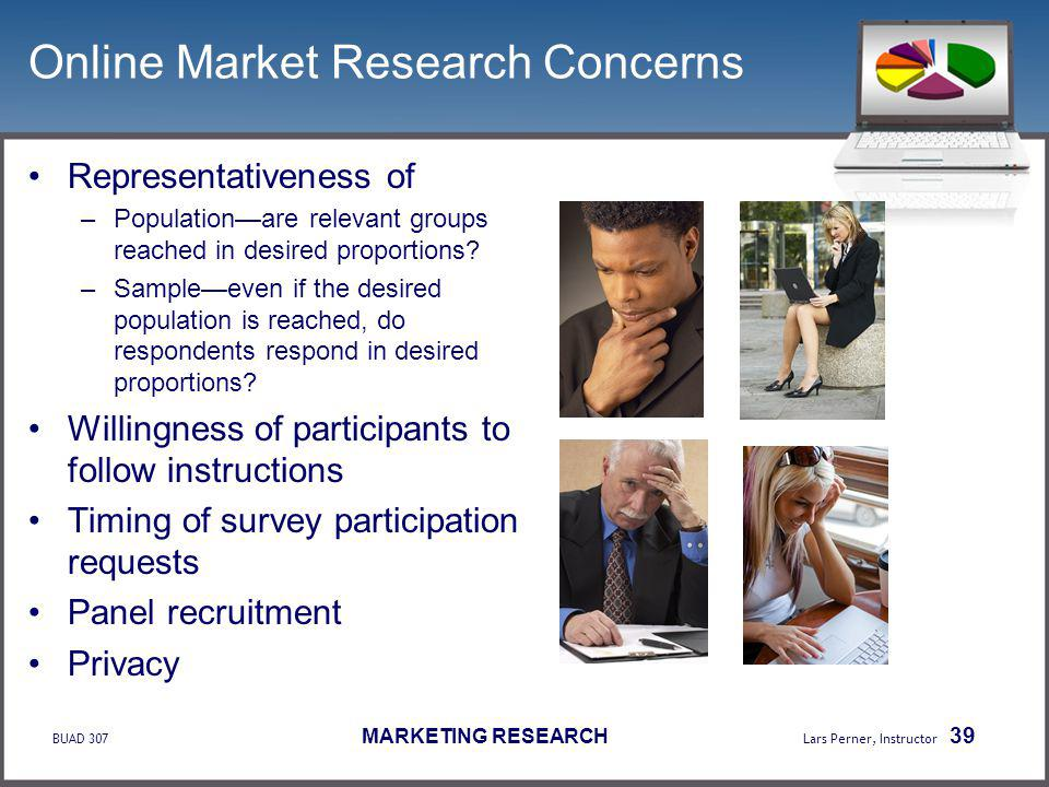 BUAD 307 MARKETING RESEARCH Lars Perner, Instructor 39 Online Market Research Concerns Representativeness of –Populationare relevant groups reached in desired proportions.