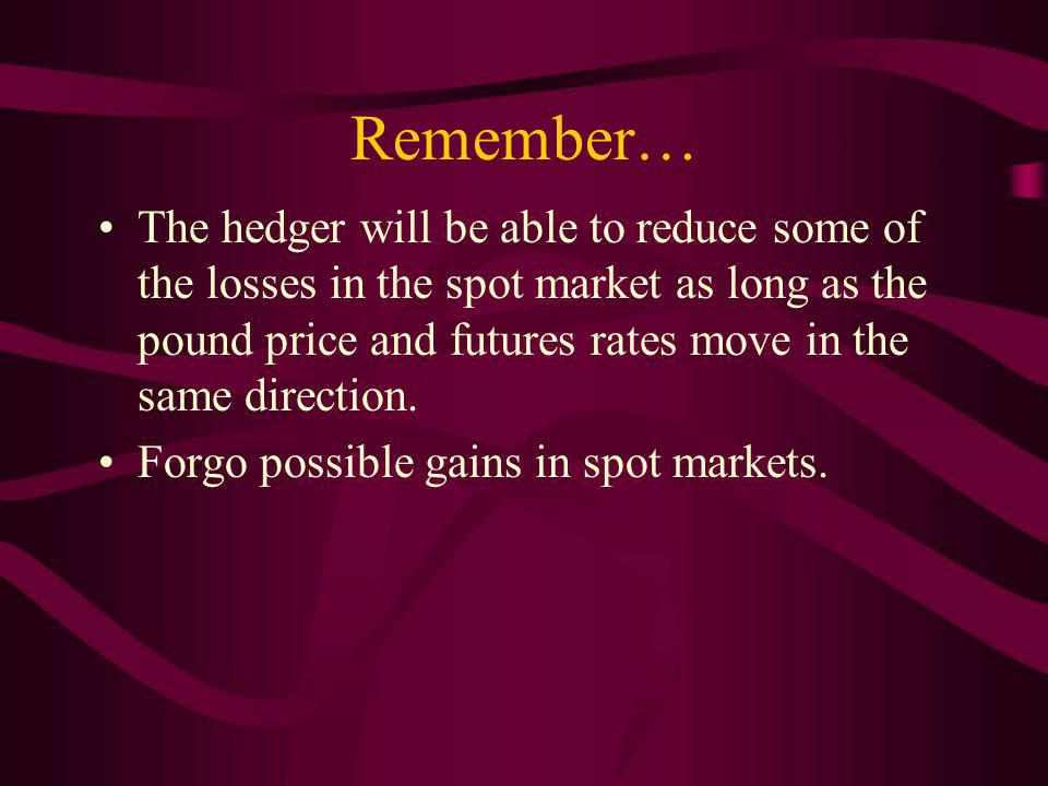 Remember… The hedger will be able to reduce some of the losses in the spot market as long as the pound price and futures rates move in the same direction.