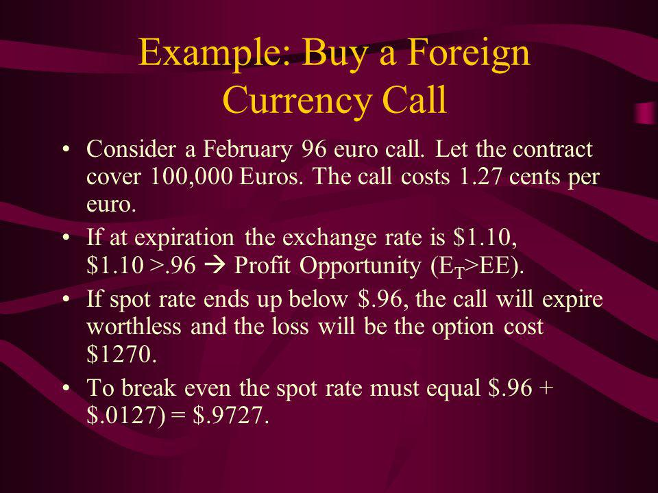Example: Buy a Foreign Currency Call Consider a February 96 euro call.