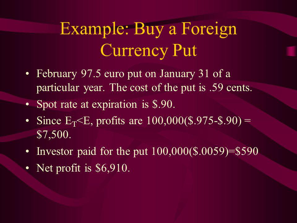 Example: Buy a Foreign Currency Put February 97.5 euro put on January 31 of a particular year.