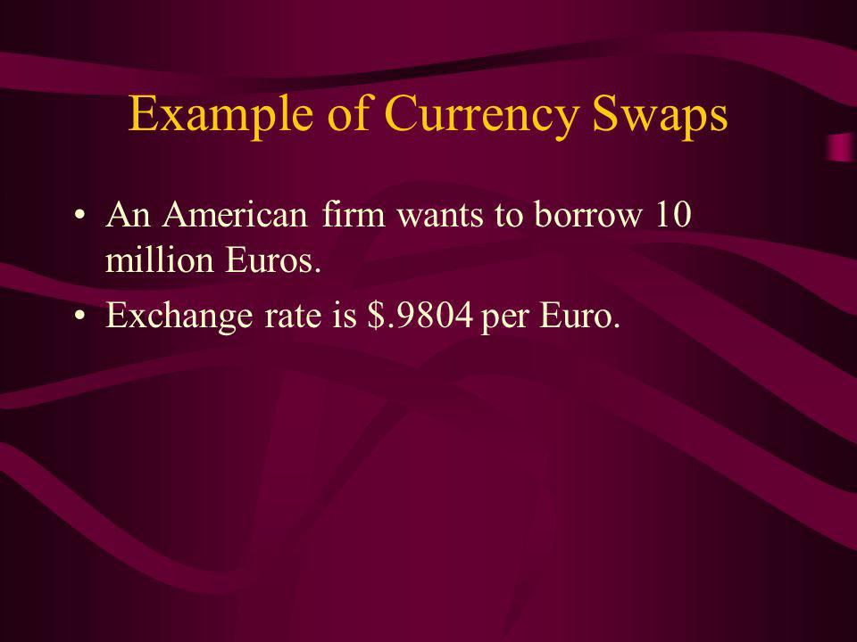 Example of Currency Swaps An American firm wants to borrow 10 million Euros.