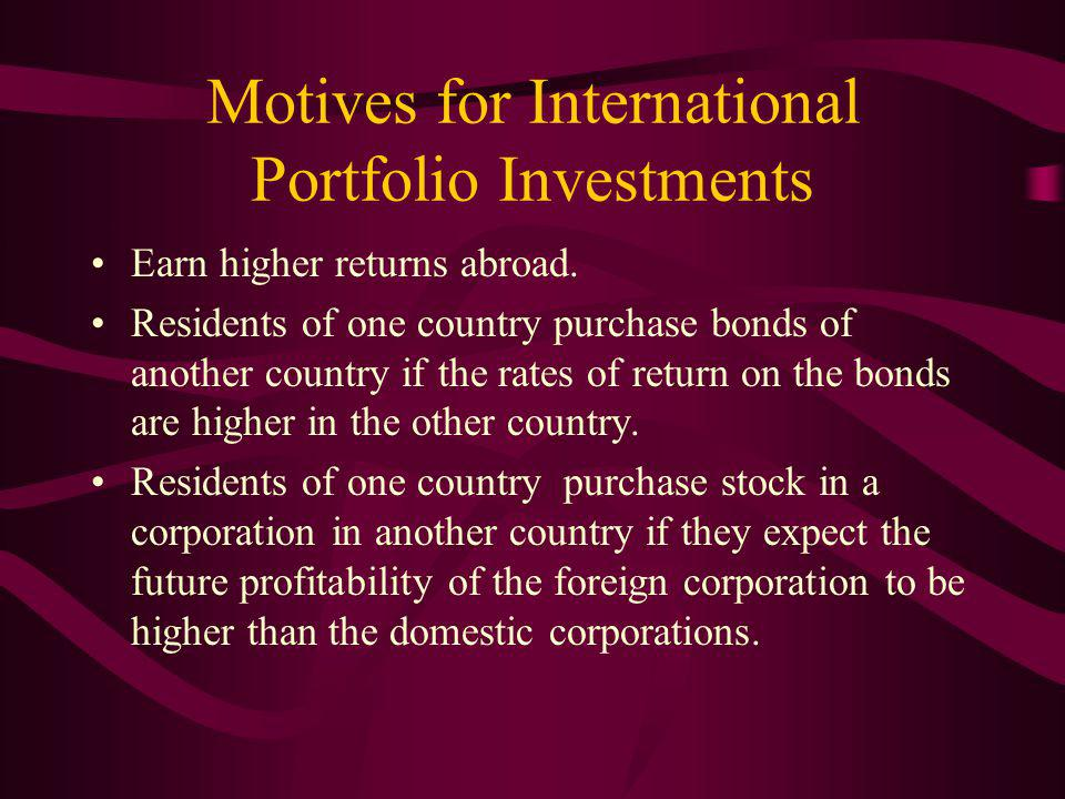 Motives for International Portfolio Investments Earn higher returns abroad.