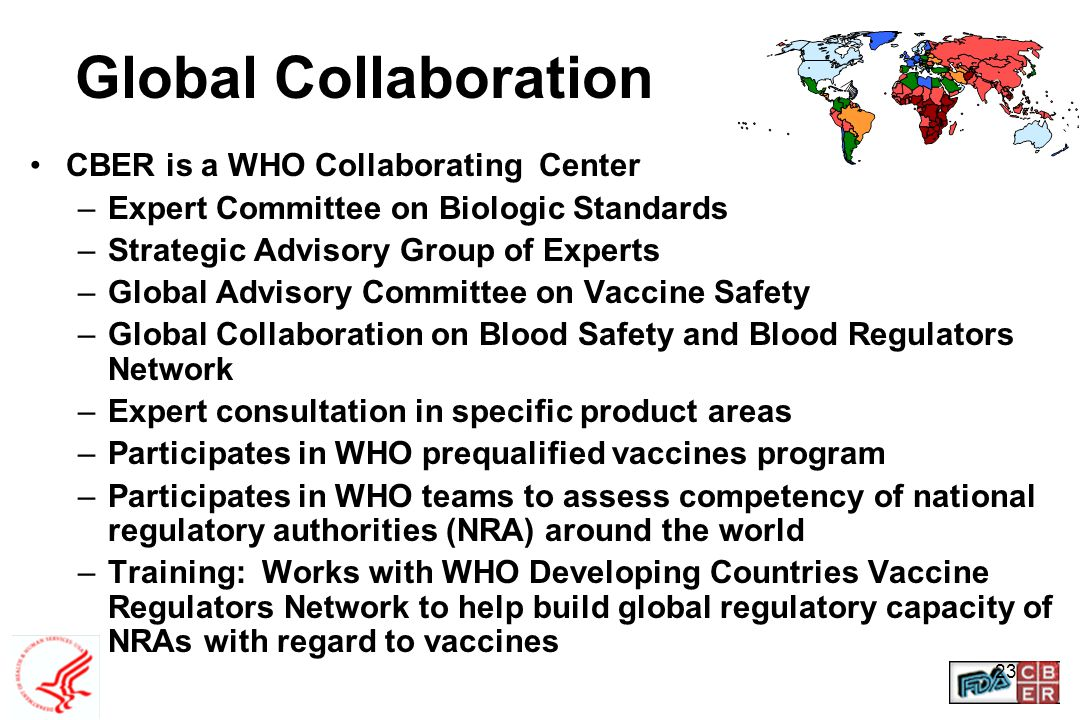 23 Global Collaboration CBER is a WHO Collaborating Center –Expert Committee on Biologic Standards –Strategic Advisory Group of Experts –Global Adviso