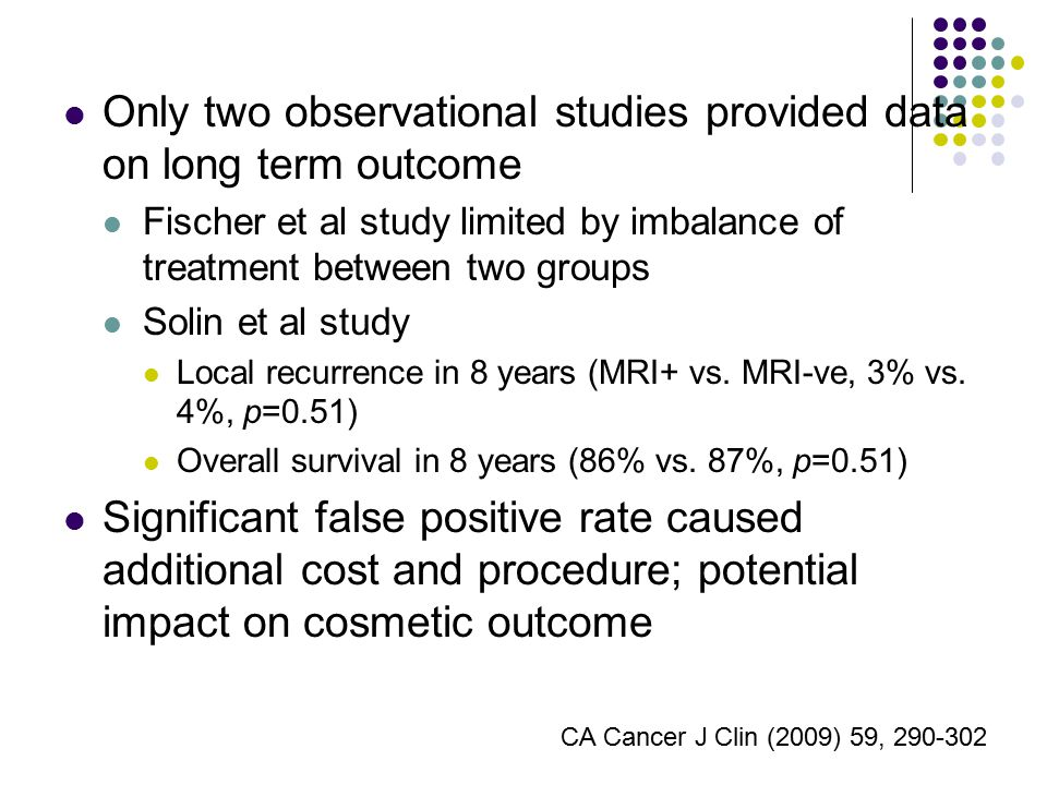 Only two observational studies provided data on long term outcome Fischer et al study limited by imbalance of treatment between two groups Solin et al study Local recurrence in 8 years (MRI+ vs.
