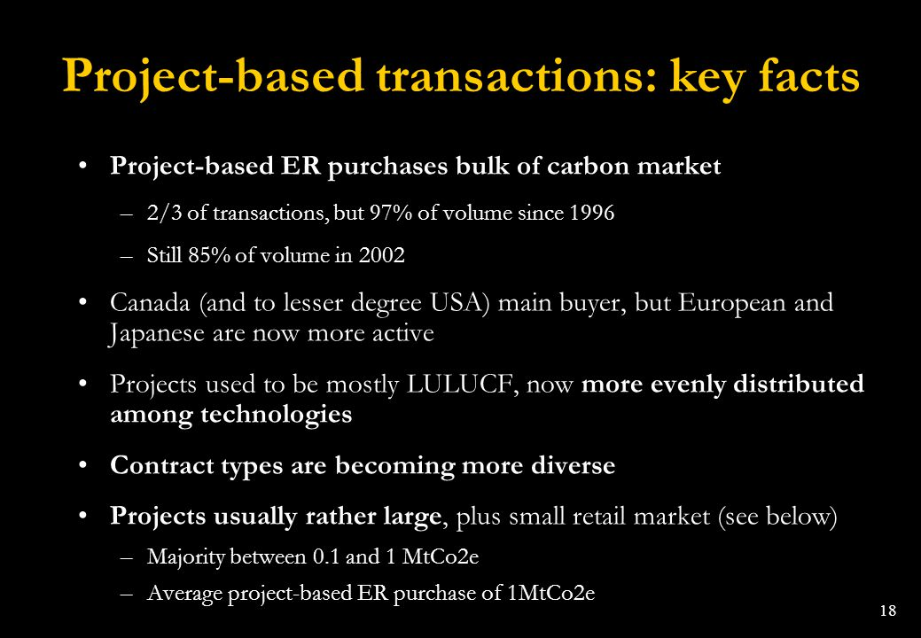 18 Project-based transactions: key facts Project-based ER purchases bulk of carbon market –2/3 of transactions, but 97% of volume since 1996 –Still 85