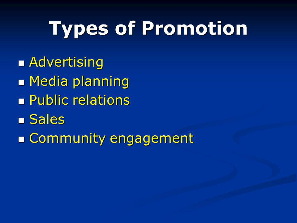 Types of Promotion Advertising Advertising Media planning Media planning Public relations Public relations Sales Sales Community engagement Community engagement