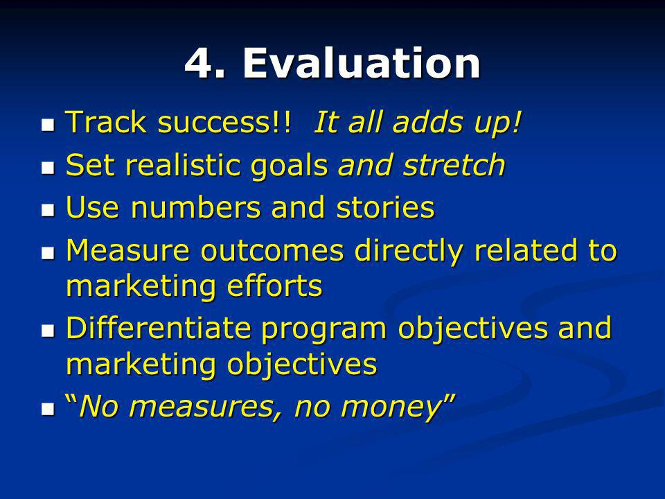 4. Evaluation Track success!. It all adds up. Track success!.