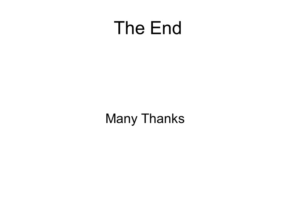 The End Many Thanks