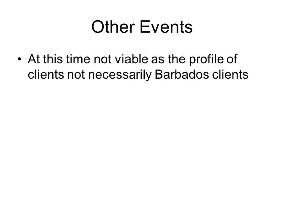 Other Events At this time not viable as the profile of clients not necessarily Barbados clients
