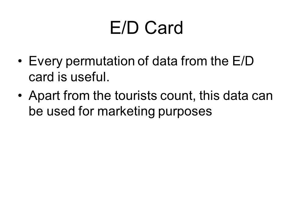 E/D Card Every permutation of data from the E/D card is useful.