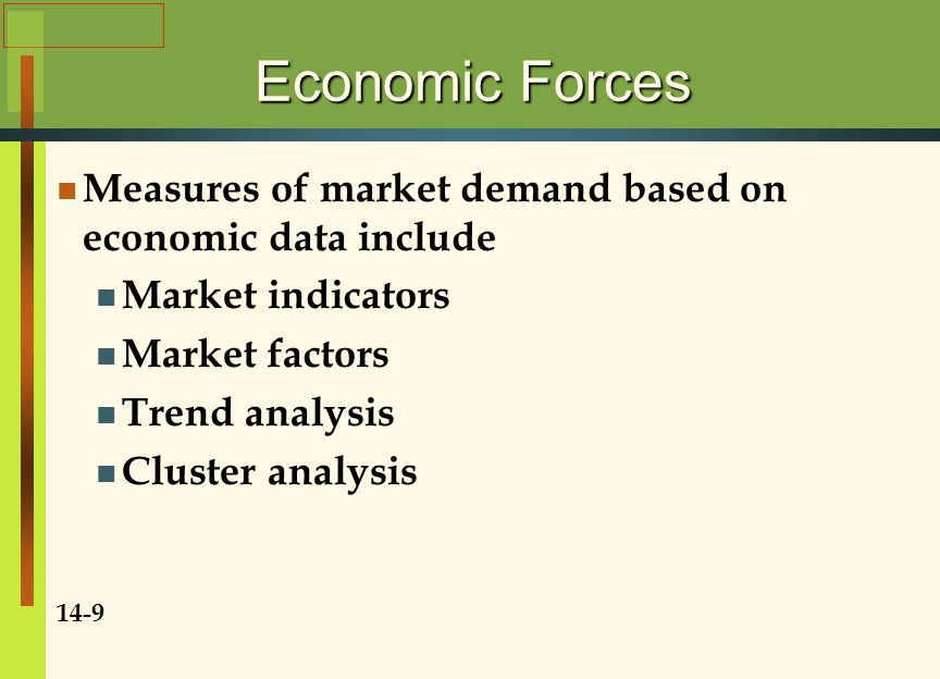 Economic Forces Market Indicators Economic data used to measure relative market strengths of countries or geographic areas Buying Power Index enables marketers to compare relative buying power 14-10 Market Factors Economic data that correlate highly with market demand for a product If the analyst of a foreign market has no factor for that market, he or she can use the estimation by analogy
