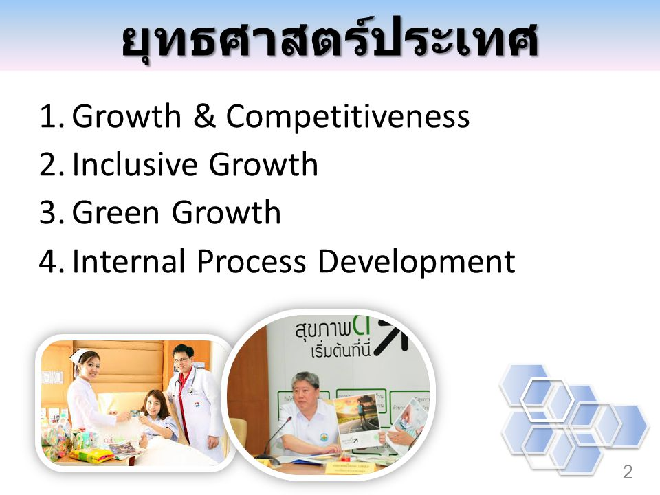 2 1.Growth & Competitiveness 2.Inclusive Growth 3.Green Growth 4.Internal Process Development