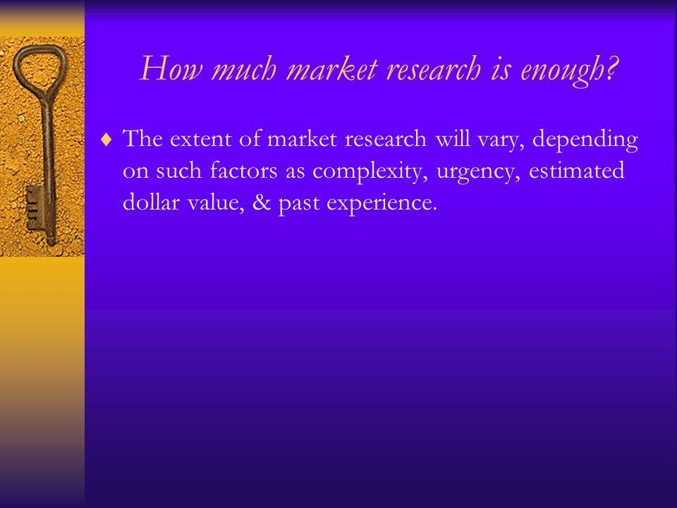 How much market research is enough.