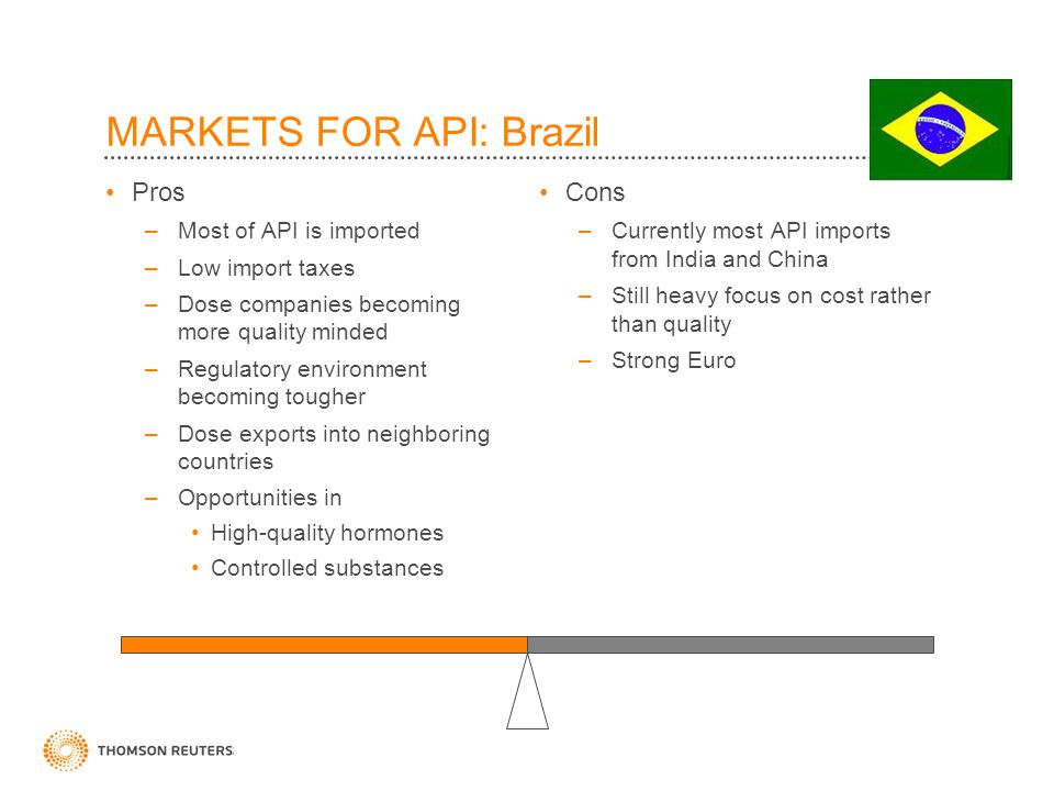 MARKETS FOR API: Brazil Pros –Most of API is imported –Low import taxes –Dose companies becoming more quality minded –Regulatory environment becoming tougher –Dose exports into neighboring countries –Opportunities in High-quality hormones Controlled substances Cons –Currently most API imports from India and China –Still heavy focus on cost rather than quality –Strong Euro