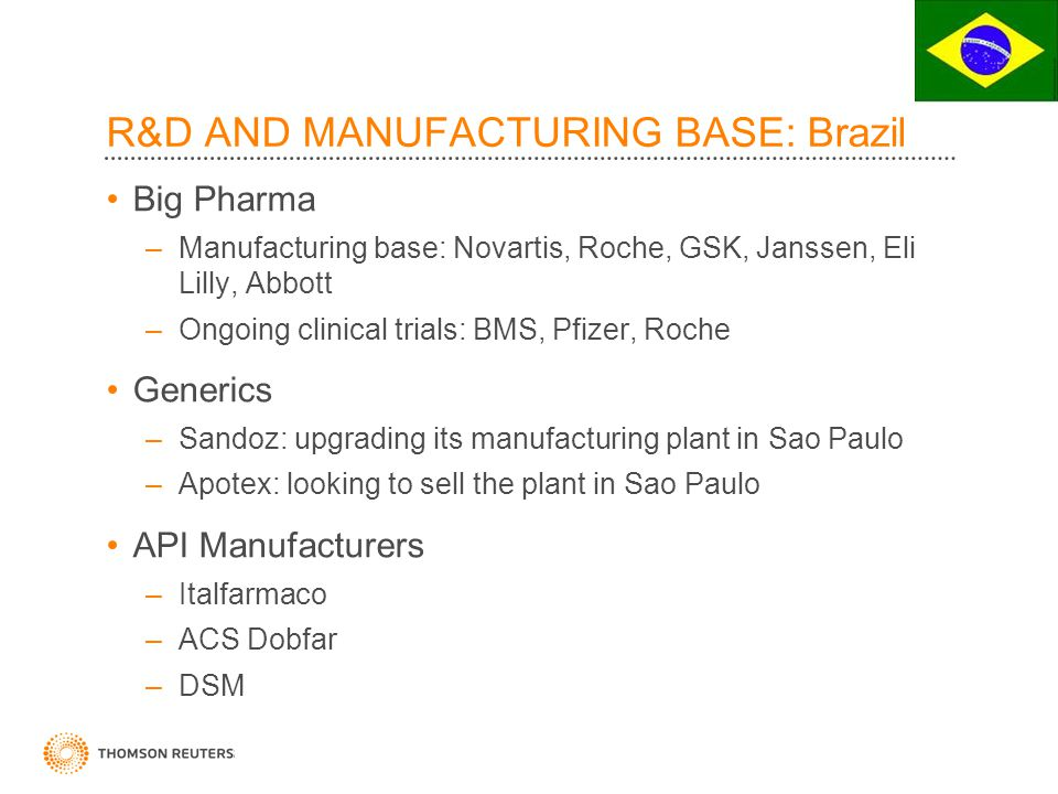 R&D AND MANUFACTURING BASE: Brazil Big Pharma –Manufacturing base: Novartis, Roche, GSK, Janssen, Eli Lilly, Abbott –Ongoing clinical trials: BMS, Pfizer, Roche Generics –Sandoz: upgrading its manufacturing plant in Sao Paulo –Apotex: looking to sell the plant in Sao Paulo API Manufacturers –Italfarmaco –ACS Dobfar –DSM