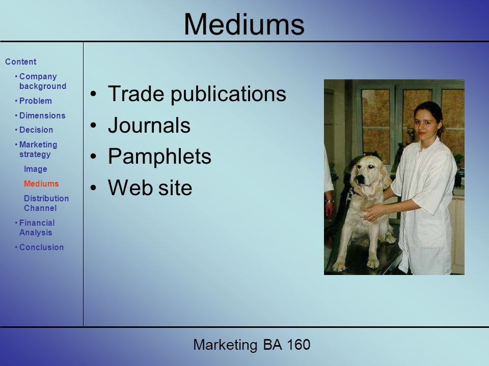 Trade publications Journals Pamphlets Web site Marketing BA 160 Content Company background Problem Dimensions Decision Marketing strategy Image Mediums Distribution Channel Financial Analysis Conclusion Mediums