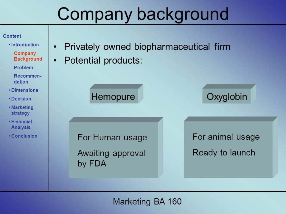Company background Privately owned biopharmaceutical firm Potential products: Hemopure For Human usage Awaiting approval by FDA Oxyglobin For animal u