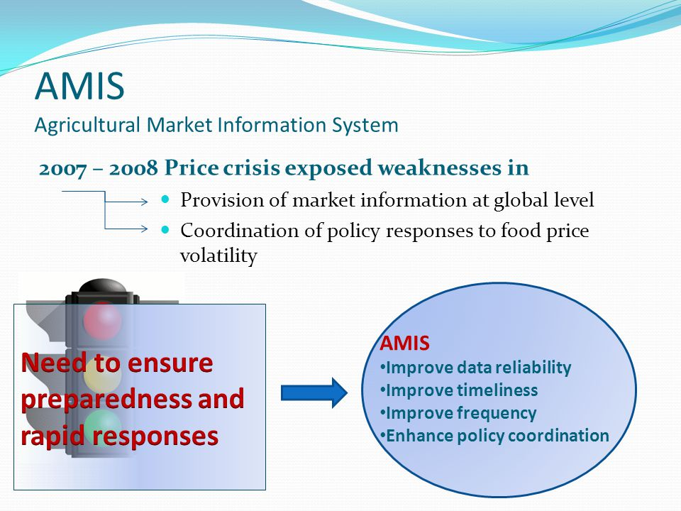 AMIS Agricultural Market Information System 2007 – 2008 Price crisis exposed weaknesses in Provision of market information at global level Coordinatio