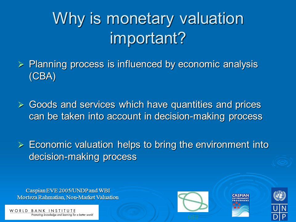 GEF Caspian EVE 2005/UNDP and WBI Morteza Rahmatian, Non-Market Valuation Why is monetary valuation important.
