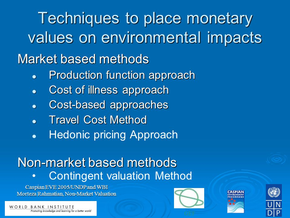 GEF Caspian EVE 2005/UNDP and WBI Morteza Rahmatian, Non-Market Valuation Techniques to place monetary values on environmental impacts Market based methods Production function approach Production function approach Cost of illness approach Cost of illness approach Cost-based approaches Cost-based approaches Travel Cost Method Travel Cost Method Hedonic pricing Approach Non-market based methods Contingent valuation Method