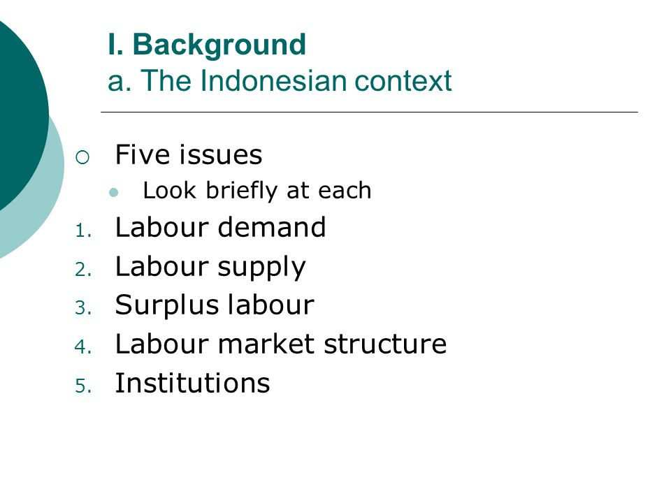 I. Background a. The Indonesian context Five issues Look briefly at each 1.